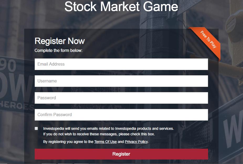 Investopedia stock simulator registration 1